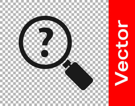 Black Unknown search icon isolated on transparent background. Magnifying glass and question mark. Vector