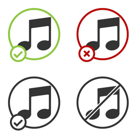 Black Music note, tone icon isolated on white background. Circle button. Vector Illustration Imagens - 147256921