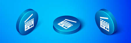 Isometric Movie clapper icon isolated on blue background. Film clapper board. Clapperboard sign. Cinema production or media industry. Blue circle button. Vector