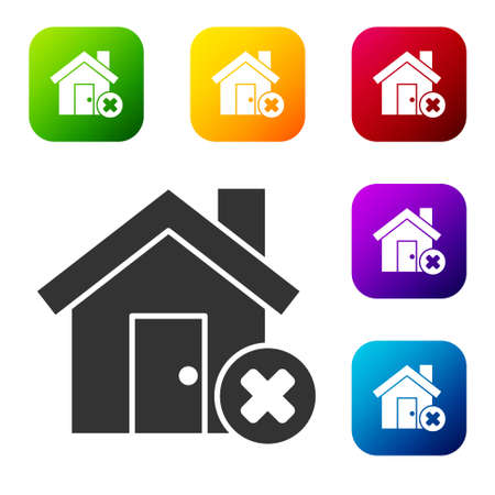 Black House with wrong mark icon isolated on white background. Home and close, delete, remove symbol. Set icons in color square buttons. Vector Illustration