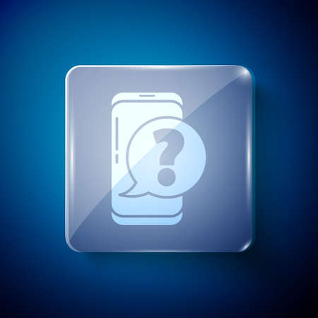 White Mobile phone with question icon isolated on blue background. Square glass panels. Vector Vectores