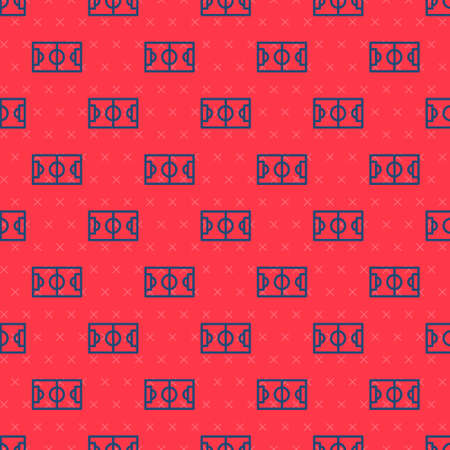 Blue line Football or soccer field icon isolated seamless pattern on red background. Vector Illustration Иллюстрация