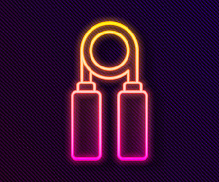 Glowing neon line Sport expander icon isolated on black background. Sport equipment. Vector Illustration