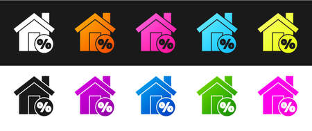Set House with percant discount tag icon isolated on black and white background. House percentage sign price. Real estate home. Vector Illustration