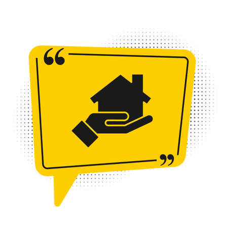 Black Realtor icon isolated on white background. Buying house. Yellow speech bubble symbol. Vector Illustration Ilustração
