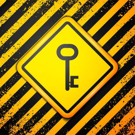 Black House key icon isolated on yellow background. Warning sign. Vector Illustration Imagens - 147258234