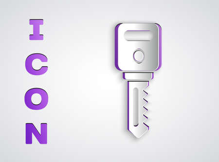 Paper cut House key icon isolated on grey background. Paper art style. Vector Illustration