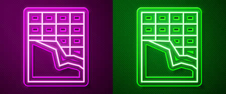 Glowing neon line Chocolate bar icon isolated on purple and green background. Vector Illustration
