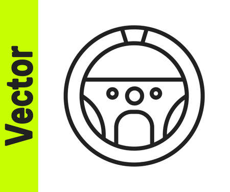 Black line Steering wheel icon isolated on white background. Car wheel icon. Vector Illustration