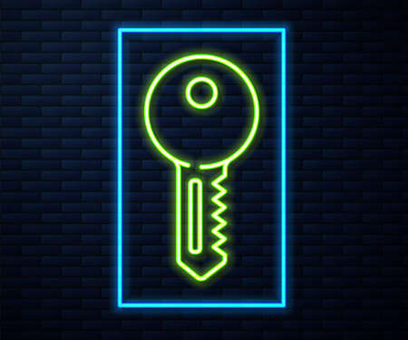 Glowing neon line House key icon isolated on brick wall background. Vector