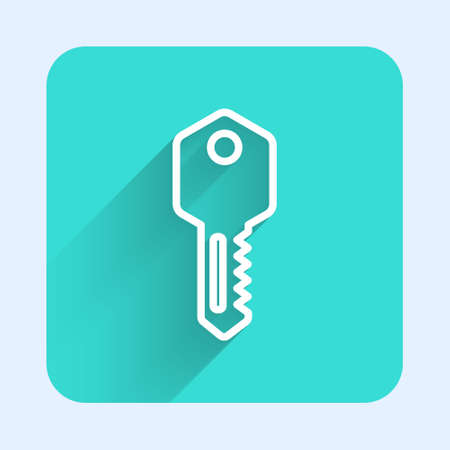 White line House key icon isolated with long shadow. Green square button. Vector