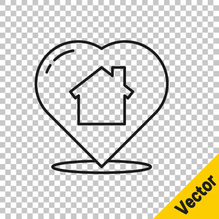 Black line House with heart shape icon isolated on transparent background. Love home symbol. Family, real estate and realty. Vector Ilustração