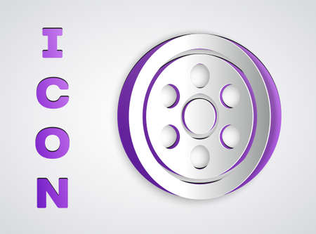 Paper cut Alloy wheel for a car icon isolated on grey background. Paper art style. Vector Illustration