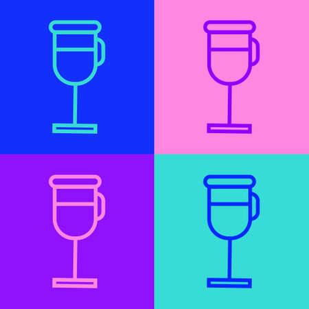 Pop art line Irish coffee icon isolated on color background. Vector Illustration