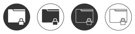 Black Folder and lock icon isolated on white background. Closed folder and padlock. Security, safety, protection concept. Circle button. Vector Illustration