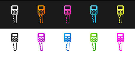 Set Car key with remote icon isolated on black and white background. Car key and alarm system. Vector Illustration