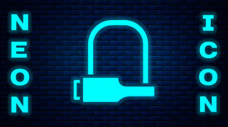 Glowing neon Bicycle lock U shaped industrial icon isolated on brick wall background. Vector Illustration