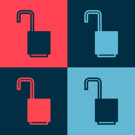 Pop art Open padlock icon isolated on color background. Opened lock sign. Cyber security concept. Digital data protection. Vector Illustration