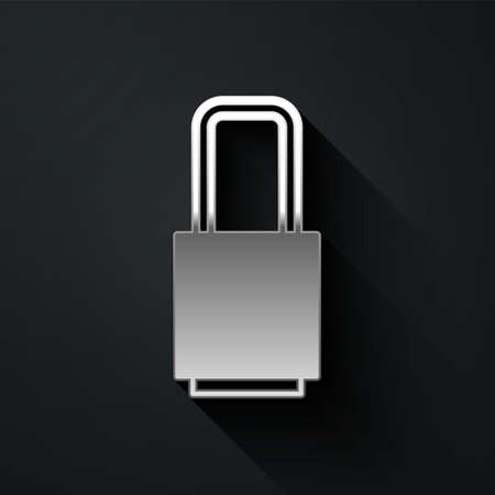 Silver Lock icon isolated on black background. Padlock sign. Security, safety, protection, privacy concept. Long shadow style. Vector Illustration Ilustração