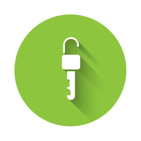 White Unlocked key icon isolated with long shadow. Green circle button. Vector Illustration Ilustração