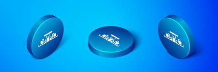Isometric Formula 1 racing car icon isolated on blue background. Blue circle button. Vector