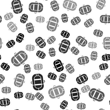Black Rafting boat icon isolated seamless pattern on white background. Inflatable boat. Water sports, extreme sports, holiday, vacation. Vector