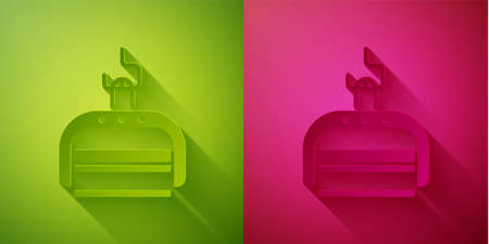 Paper cut Ski lift icon isolated on green and pink background. Paper art style. Vector Illustration