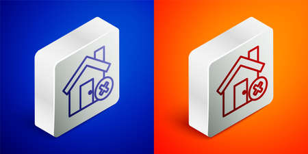 Isometric line House with wrong mark icon isolated on blue and orange background. Home and close, delete, remove symbol. Silver square button. Vector Illustration