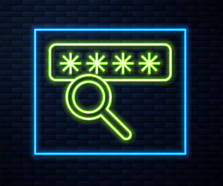 Glowing neon line Password protection and safety access icon isolated on brick wall background. Security, safety, protection, privacy concept. Vector