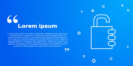 White line Safe combination lock icon isolated on blue background. Combination padlock. Security, safety, protection, password, privacy. Vector Imagens - 147258552
