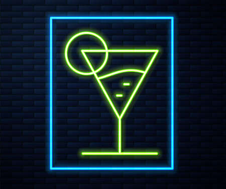 Glowing neon line Martini glass icon isolated on brick wall background. Cocktail icon. Wine glass icon. Vector 向量圖像