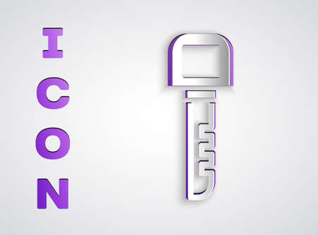 Paper cut Key icon isolated on grey background. Paper art style. Vector Imagens - 147257745