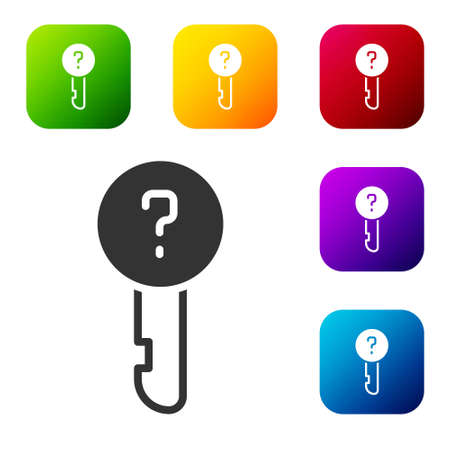 Black Undefined key icon isolated on white background. Set icons in color square buttons. Vector