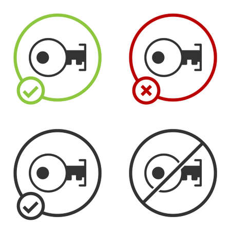 Black Key icon isolated on white background. Circle button. Vector
