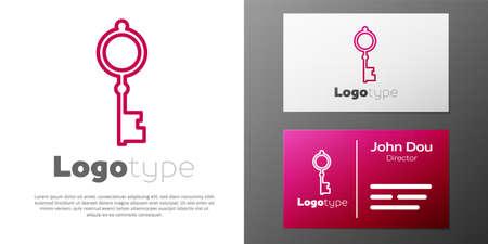 Logotype line Old key icon isolated on white background. Ilustração