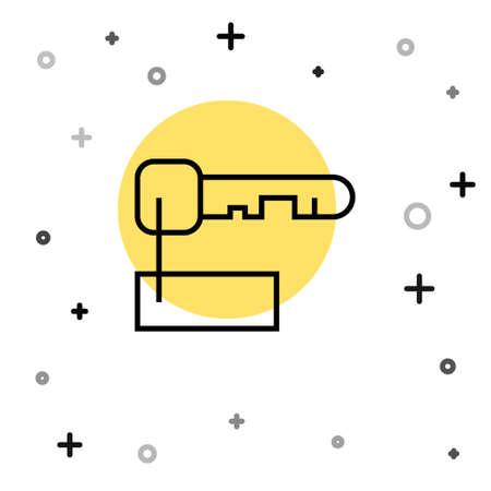 Black line Marked key icon isolated on white background. Random dynamic shapes. Vector Illustration Ilustração