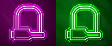 Glowing neon line Bicycle lock U shaped industrial icon isolated on purple and green background. Vector Imagens - 147258551