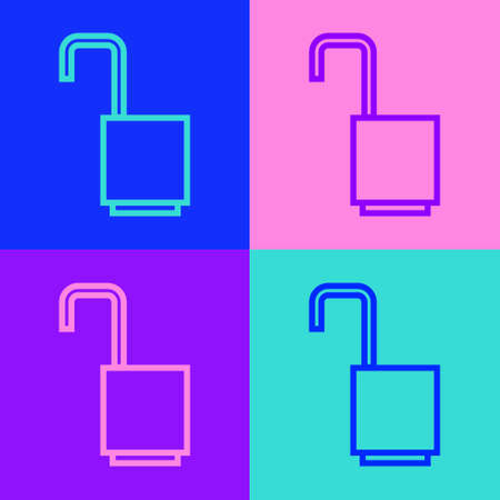 Pop art line Open padlock icon isolated on color background. Opened lock sign. Cyber security concept. Digital data protection. Vector Illustration