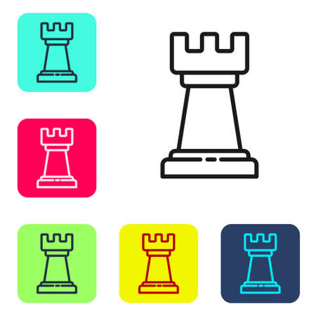 Black line Business strategy icon isolated on white background. Chess symbol. Game, management, finance. Set icons in color square buttons. Vector Illustration Illustration