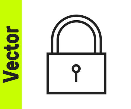 Black line Lock icon isolated on white background. Padlock sign. Security, safety, protection, privacy concept. Vector Illustration Ilustração