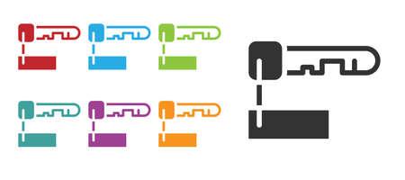 Black Marked key icon isolated on white background. Set icons colorful. Vector Illustration