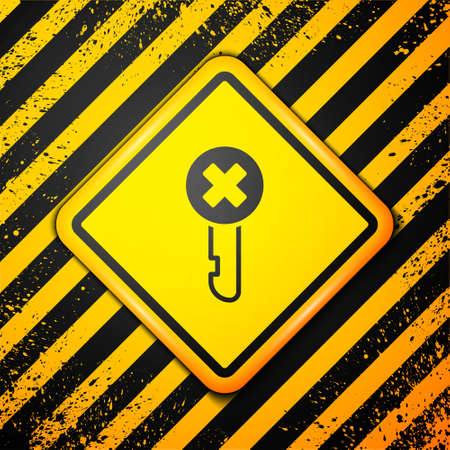 Black Wrong key icon isolated on yellow background. Warning sign. Vector Imagens - 147257555