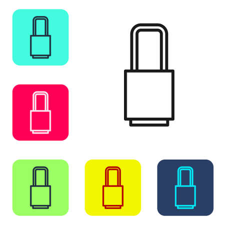 Black line Lock icon isolated on white background. Padlock sign. Security, safety, protection, privacy concept. Set icons in color square buttons. Vector