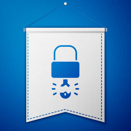 Blue Key broke inside of padlock icon isolated on blue background. Padlock sign. Security, safety, protection, privacy concept. White pennant template. Vector Imagens - 147257570