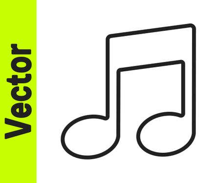 Black line Music note, tone icon isolated on white background. Vector Ilustração