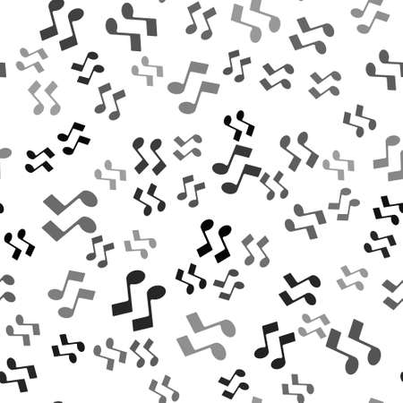 Black Music note, tone icon isolated seamless pattern on white background. Vector Illustration