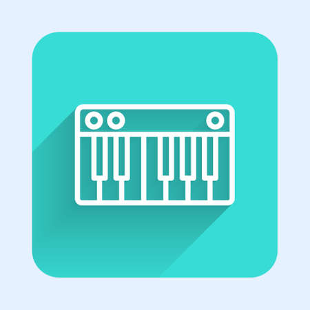 White line Music synthesizer icon isolated with long shadow. Electronic piano. Green square button. Vector Illustration