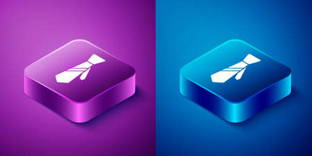 Isometric Tie icon isolated on blue and purple background. Necktie and neckcloth symbol. Square button. Vector Illustration Vectores