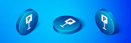 Isometric Parking icon isolated on blue background. Street road sign. Blue circle button. Vector Illustration Illustration