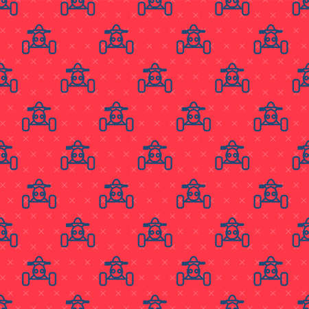 Blue line All Terrain Vehicle or ATV motorcycle icon isolated seamless pattern on red background. Quad bike. Extreme sport. Vector Illustration Ilustração